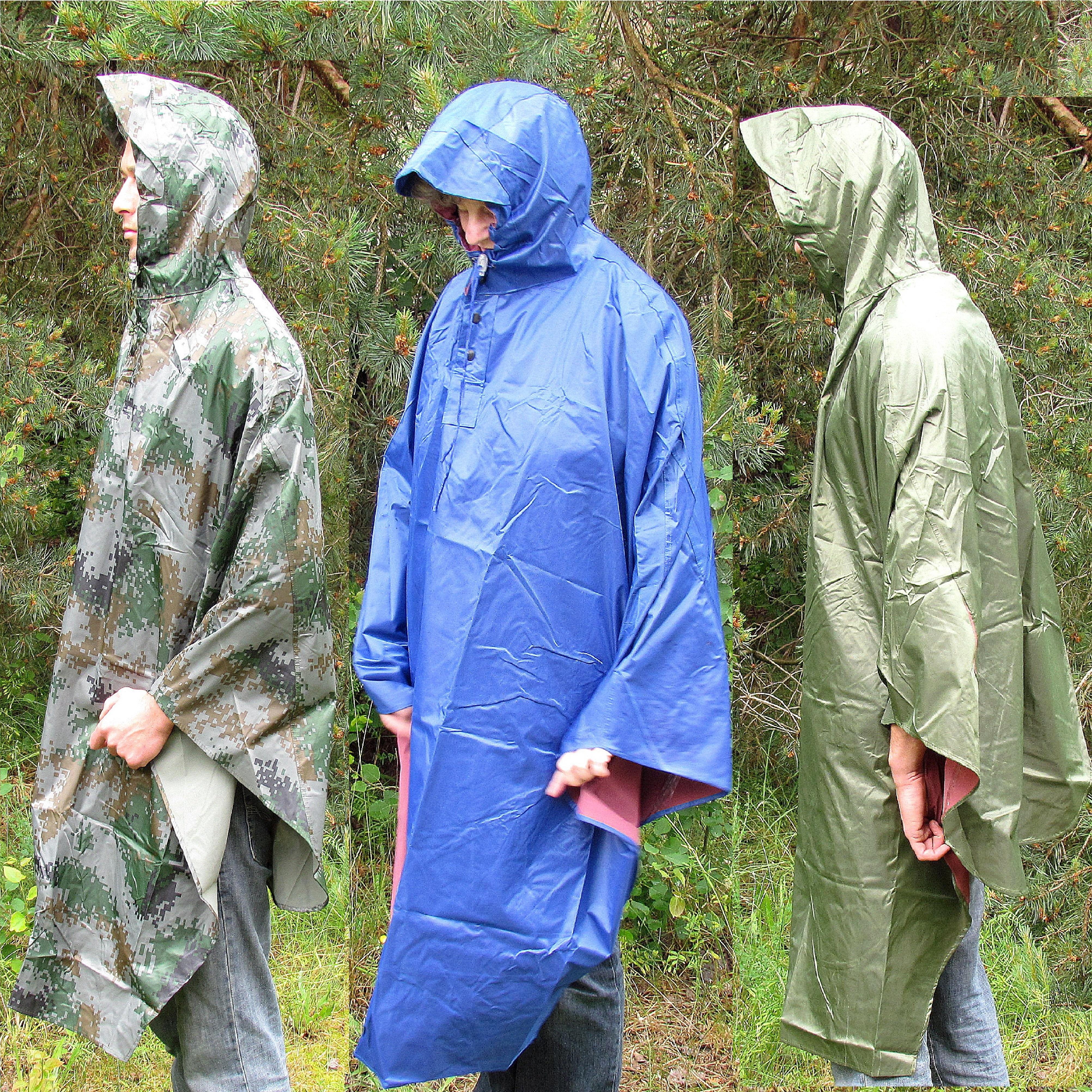Regencape~Regen-Mantel~Wind//Wasserdicht~M//L~blau~Regenumhang~Poncho~Outdoor